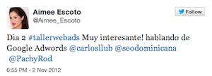 Testimonio-Aimee-Escoto3-Taller-Publicidad-Online-Santo-Domingo-2012