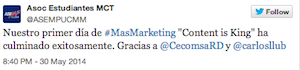 Testimonio-Charla-Mas-MArketing- Estrategia-Contenido-Conferencista-Carlos-Lluberes-may-2014-ASEM