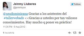 Testimonio-Jeimny-Lluberes-Taller-Publicidad-Online-Santo-Domingo-2012