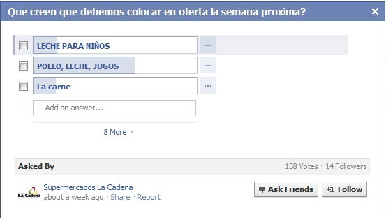 Crowdsourcing en Facebook: Supermercados La Cadena
